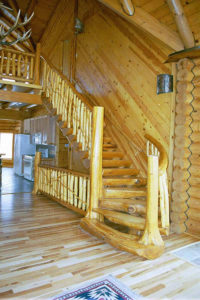log cabin spiral stairs