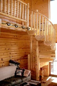 Log Home Stairs And Railings