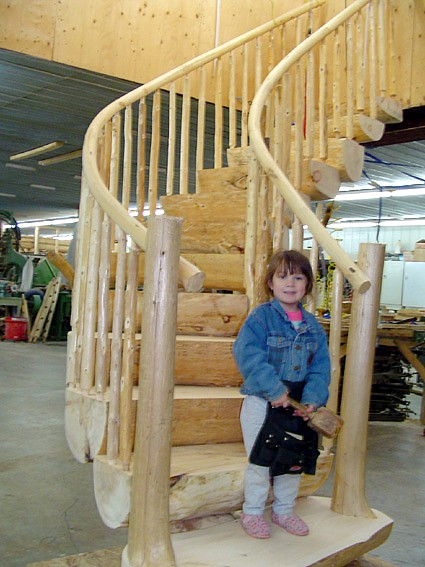 log home stairs