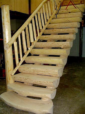 half log stair treads